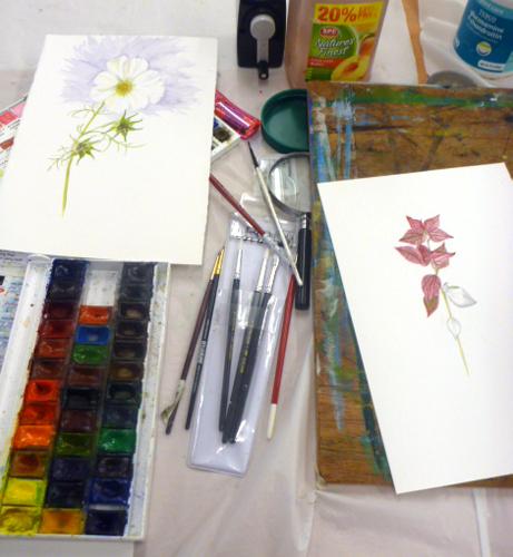 Llandrindod, art workshop, flowers, workshop, art equipment,