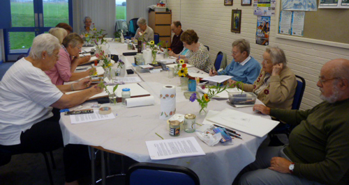 Llandrindod, art workshop, class, flowers, workshop,