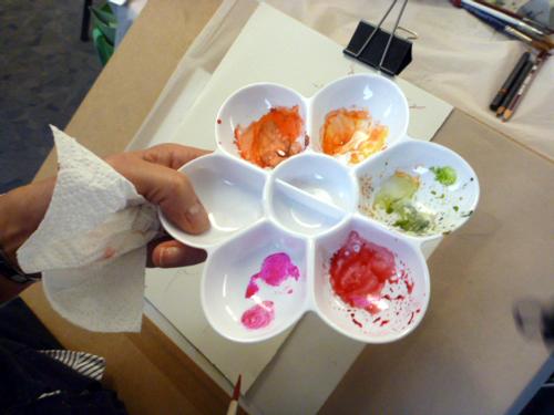 Llandrindod, art workshop, flowers, workshop, palette,