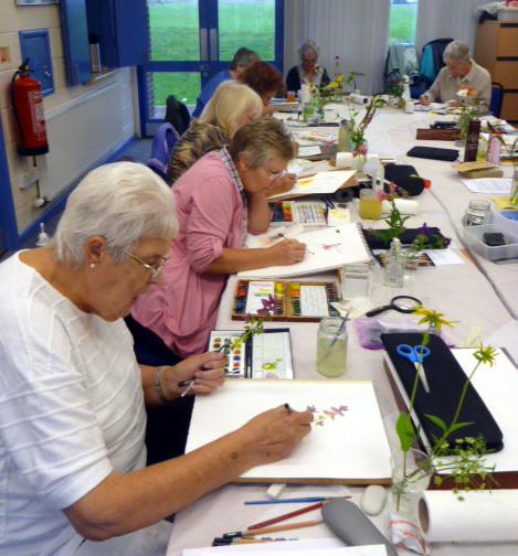 Llandrindod, art workshop, flowers, workshop, working, class,