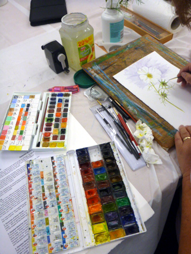 Llandrindod, art workshop, flowers, workshop, paintbox, watercolour,