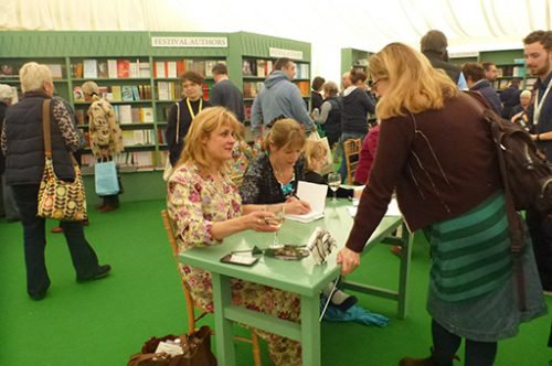 Hay festival book signing