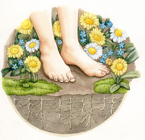 Whimsical illustration of feet and flowrs on soil